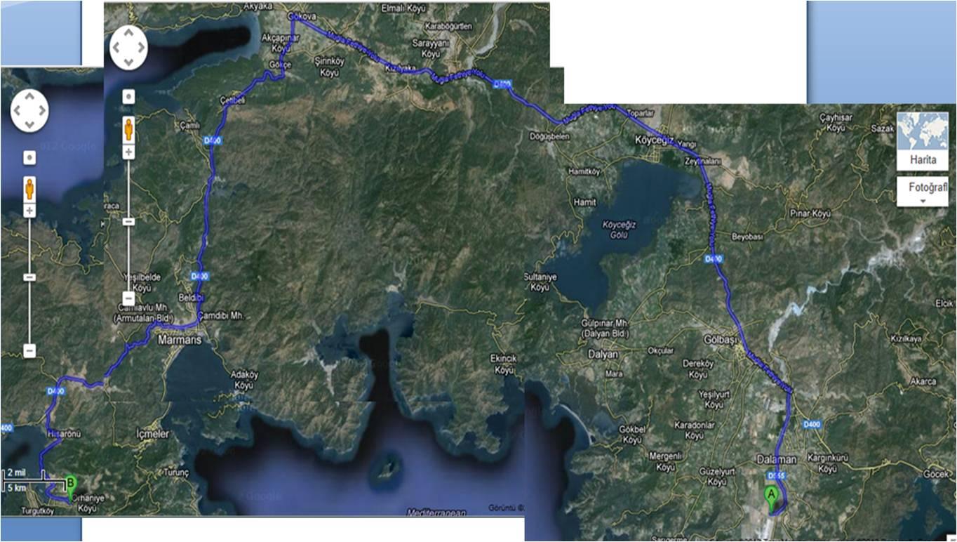 Ulaşım Dalaman Havalimanı - Orhaniye  Google Maps